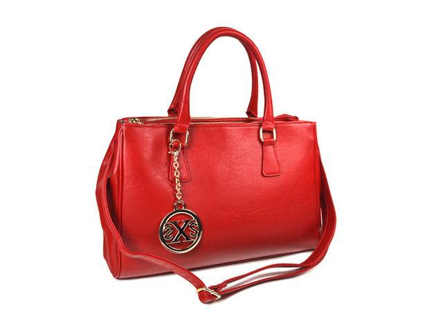 Women's Red Leather-like tote bag With Top zip closure F71