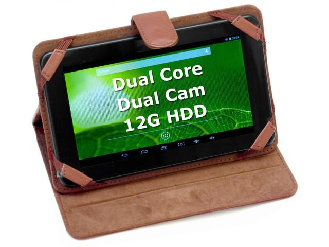 vital mini 7 inch 1024*600HD Dual core 12G Dual camera Android 4.2 Leather Case / Stand Tablet (Brown )