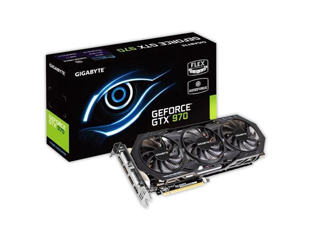 Gigabyte GeForce GTX 970 Overclocked 4GB GDDR5 PCiE Video Graphics Card GV-N970WF3OC-4GD