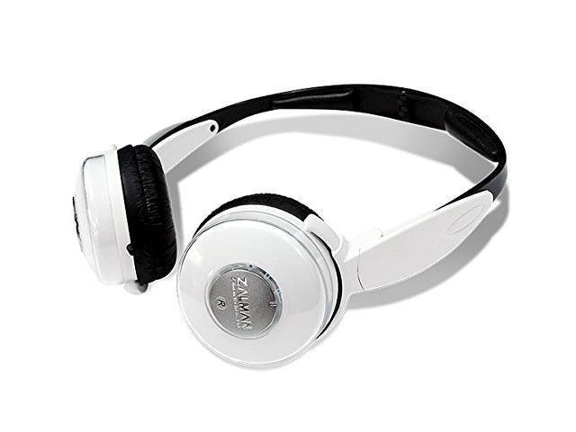 Zalman ZM-DS4F 2-Way 4 Speaker Foldable Earcup Dual Stereo Headphones w/3.5mm Jack (White) - 2 Diaphragms Per Channel!