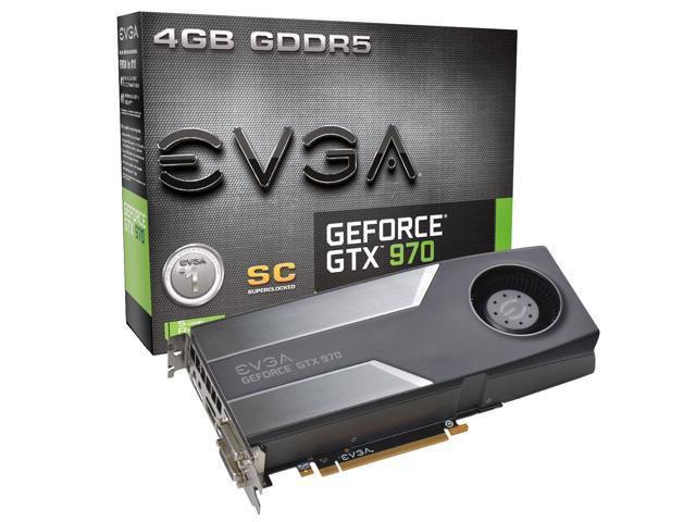 EVGA GTX GTX 970 Superclocked 4GB GDDR5 256bit, DVI-I, DVI-D, HDMI, DP SLI Ready Graphics Card (04G-P4-1972-KR)