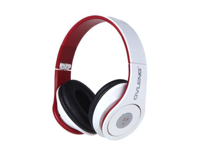 OVLENG X8 Foldable 3.5mm Headphone Headset with Mic for iPhone Samsung Cell Phone White