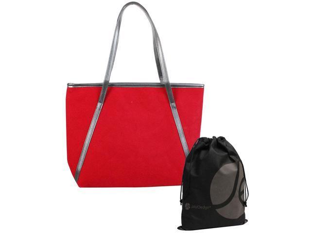 JAVOedge Red Matte Large Casual Tote Bag with Over the Shoulder Strap, Zipper Closure Bonus Reusable Storage Bag