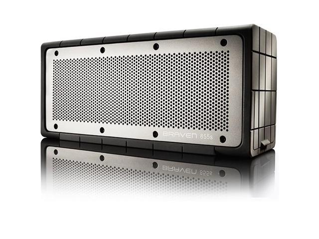 Braven 855s Wireless Portable Bluetooth Speaker with Mic and Powerbank (Silver)