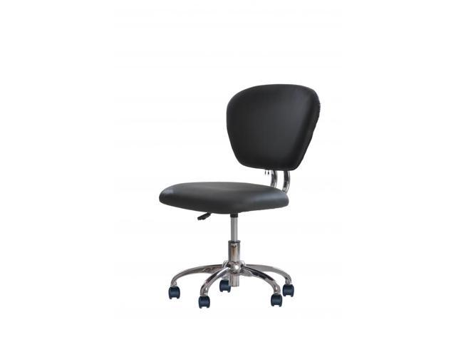 New Black PU Leather Mid-Back Mesh Task Chair Office Desk Task Chair