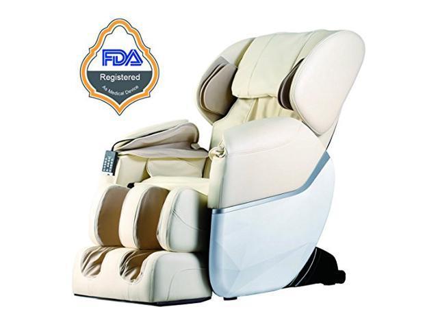 Beige Electric Full Body Shiatsu Massage Chair Recliner Zero Gravity with Heat