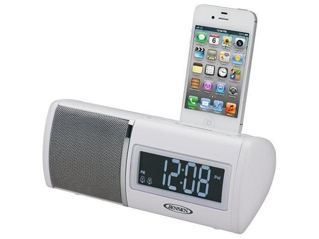 Jensen JIMS-75I Docking Digital Clock Radio for iPod and iPhone White