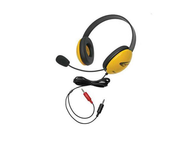 Children's Listening First Stereo Headset with Dual 3.5mm Plugs and Microphone - Yellow