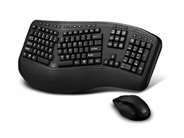 Adesso Adesso 2.4ghz Rf Wireless Tru-form Wave Ergonimic Keyboard And Laser Mouse.