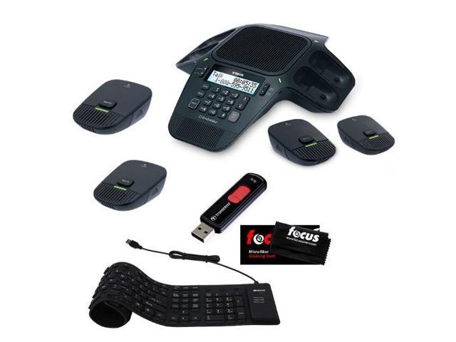 Vtech VCS704 ERIS Station Conference Speakerphone with OrbitLink Wireless Technology + 4GB 2.0 Flash Drive + Foldable Black USB Wired Keyboard + ...