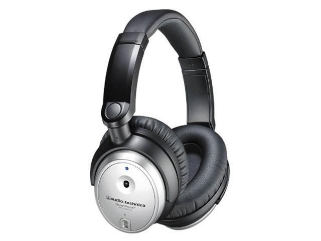 Audio-Technica ATH-ANC7B Silver QuietPoint Active Noise-Cancelling Headphone with MIC and Remote