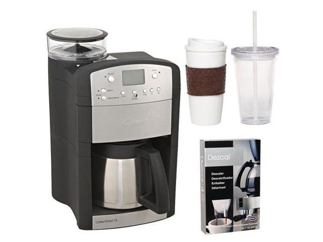 Capresso 465 CoffeeTeam TS 10-Cup Digital Coffeemaker with Conical Burr Grinder and Thermal Carafe + Coffee Mug & Iced Beverage Cup + Coffee/ ...