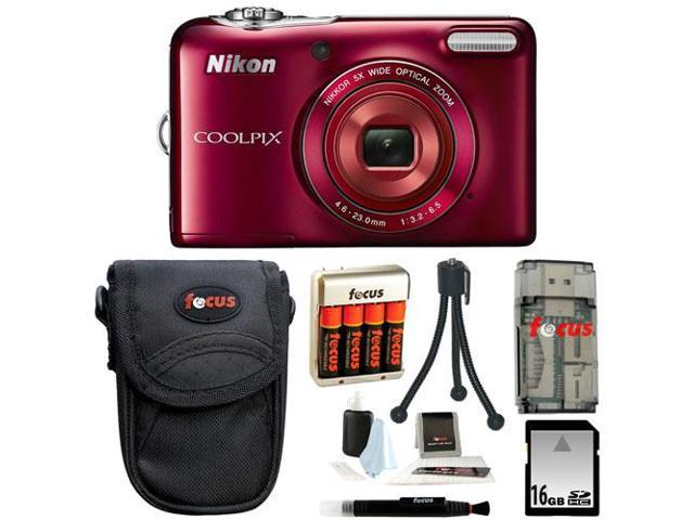 Nikon COOLPIX L30 Digital Camera (Red) with 16GB Deluxe Accessory Kit