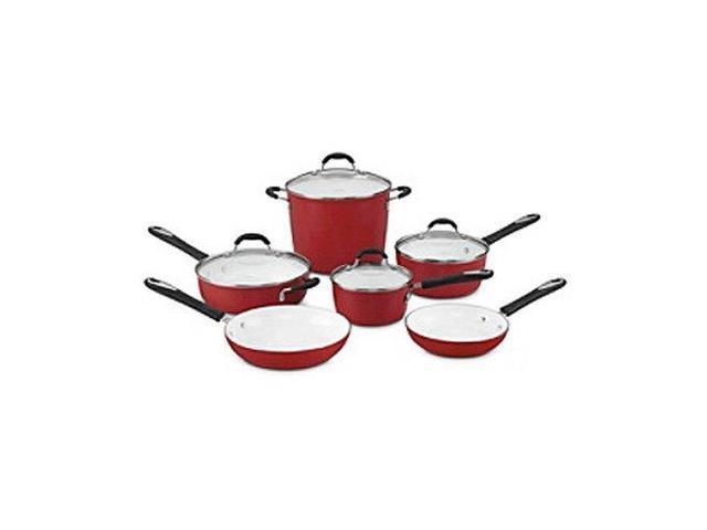Cuisinart 59-10R Elements Nonstick 10-Piece Cookware Set, Red