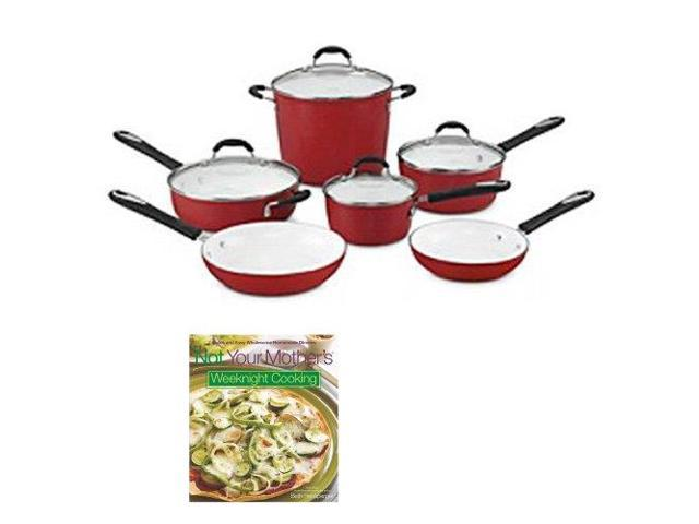 Cuisinart 59-10R Elements Nonstick 10-Piece Cookware Set (Red) with Not Your Mother's Weeknight Cooking (Cook Book)