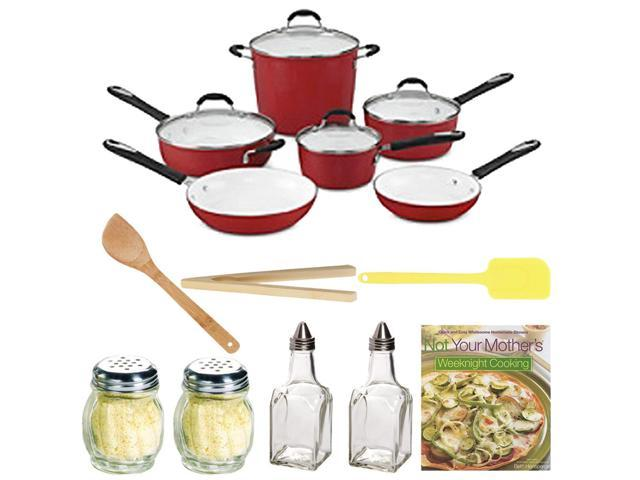 Cuisinart 59-10R Elements Nonstick 10-Piece Cookware Set (Red) with Not Your Mother's Weeknight Cooking, Glassware and Kitchenware Accessory Kit