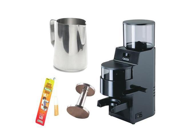 Gaggia 8002 MDF Burr Grinder with Doser (Black) + Stainless Steel 18/8 Gauge 20 oz. Frothing Pitcher + Accessory Kit