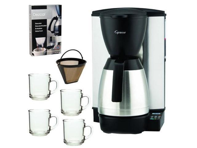 Capresso 440.05 MT-500 Refurbished 10-Cup Electronic Coffeemaker with Thermal Carafe + 10oz ARC Handy Glass Coffe Mug + Home Activated Coffee/ ...