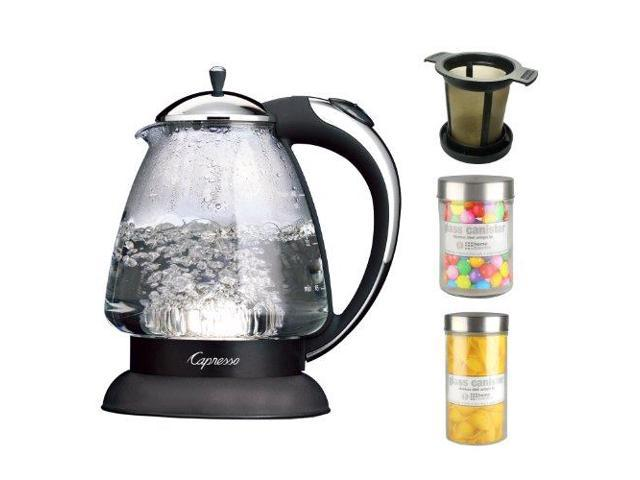 Capresso 259.03 H2O Plus 6-Cup Safety Glass Water Kettle in Polished Chrome + Brewing Basket in Black Medium Size + Accessory Kit