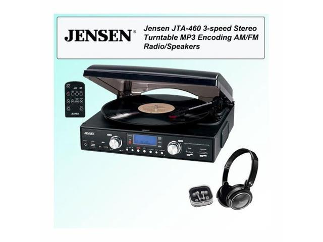 Jensen JTA-460 3-Speed Stereo Turntable with MP3, AM/FM Radio/Speakers Bundle