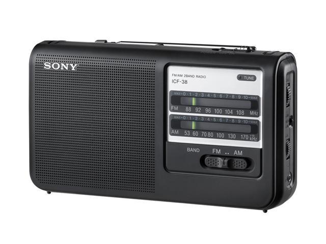 Sony SY-ICF-38M Portable AM/FM Radio BLACK