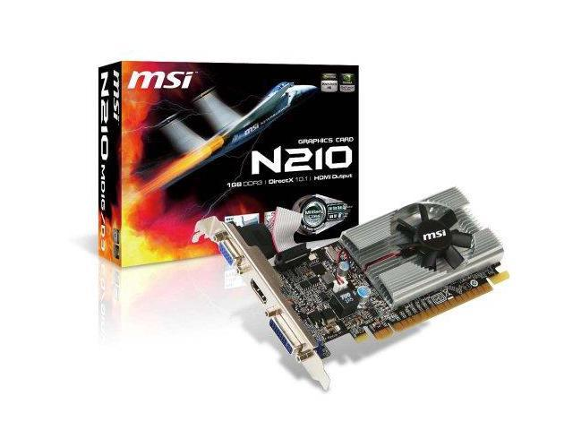 Micro-Star International (MSi) N210MD1GD3M MSI Geforce 210 1024 MB DDR3 PCI-Express 2.0 Graphics Card MD1G/D3