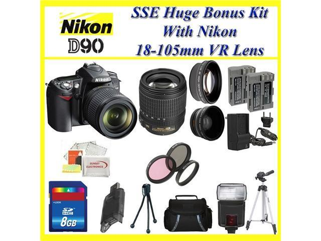 Nikon D90 SLR Digital Camera with 18-105mm Lens + Huge Accessories Package Including Wide Angle Macro Lens + 2x Telephoto + 3 Pc Filter KIT ...