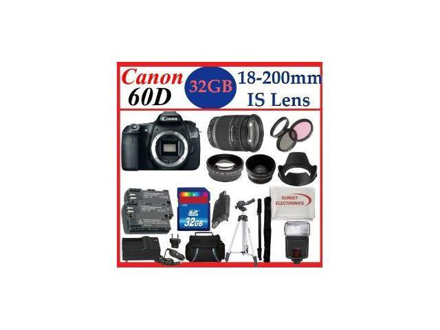 Canon EOS 60D Body SLR Digital Camera with Canon EF-S 18-200mm f/3.5-5.6 IS Lens + Huge 32GB Complete Accessory Package