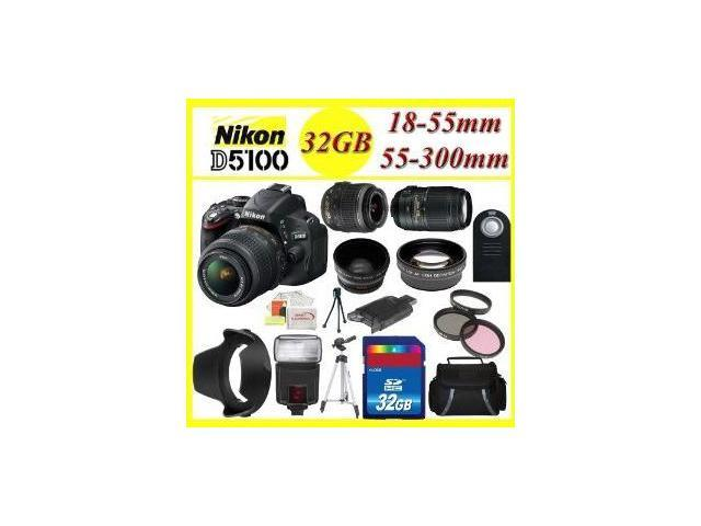 Ultimate Zoom KIT!! Nikon D5100 Digital SLR Camera w/18-55mm Lens + 55-300mm Lens + Full Accessory KIT