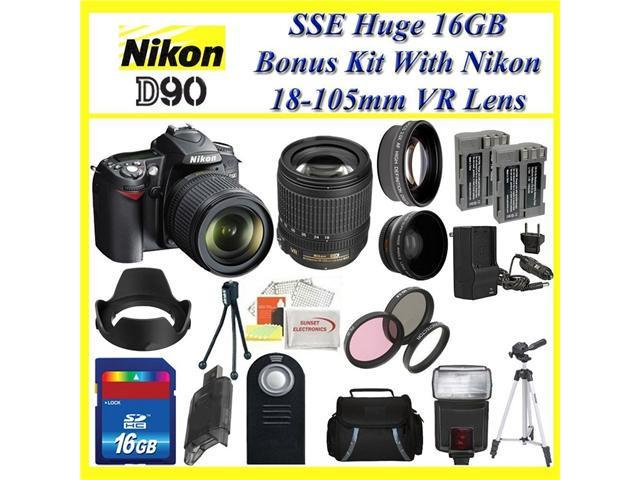 Nikon D90 SLR Digital Camera with Nikon 18-105mm Vr Lens + Huge Accessories Package Including Wide Angle Macro Lens + 2x Telephoto Lens + 3 ...