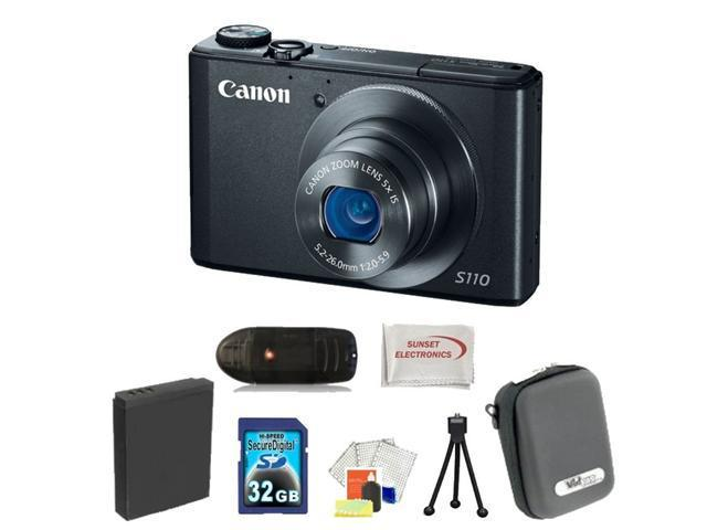 Canon PowerShot S110 Digital Camera (Black) 32GB Bundle. Package Includes: 32GB Memory Card, Memory Card Reader, Extended Life Replacement ...