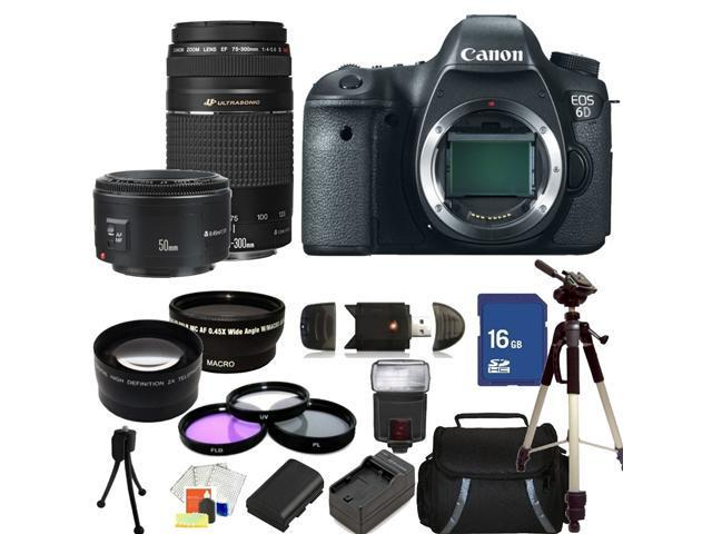 Canon EOS 6D Digital SLR Camera with 75-300mm f/4.0-5.6 III USM & 50mm f/1.8 II Lenses. Includes:  Wide Angle & Telephoto Lenses, 3 Piece Filter Kit (UV-CPL-FLD), 16GB Memory Card, Tripod, Case & More