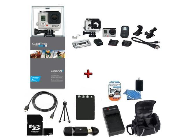 GoPro HERO3+ Silver Edition Camera (CHDHX-302) w/ SSE Kit: Includes 32GB High Speed Memory Card, High Speed Card Reader, Extended Life Battery, ...