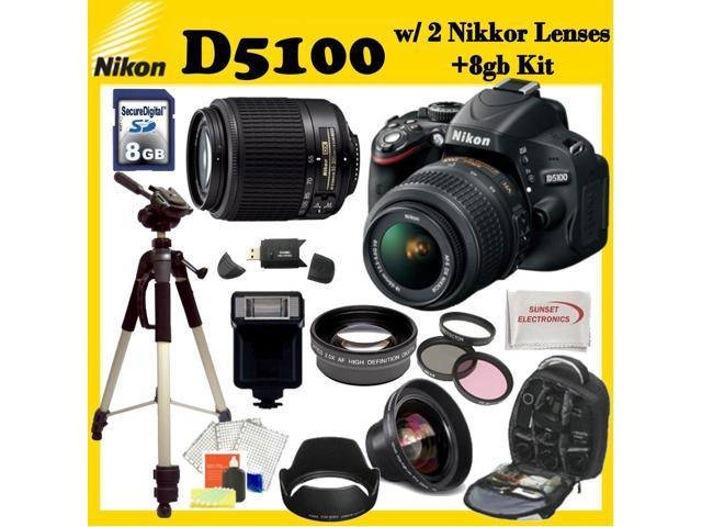 Nikon D5100 Digital SLR Camera with Nikon 18-55mm VR Lens And Nikon 55-200mm Lens + 3 Extra Lens + 8GB SDHC Memory Card & More ...