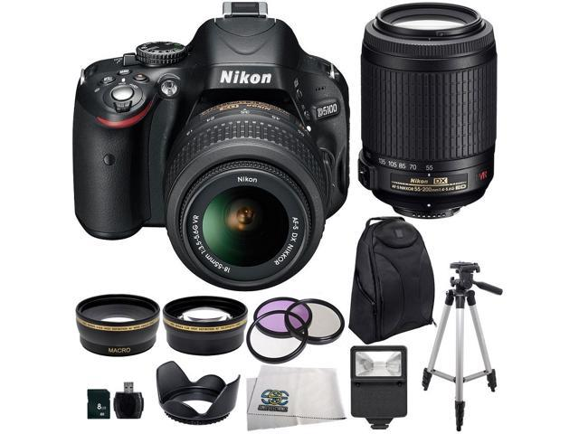 Nikon D5100 Digital SLR Camera with 18-55mm VR Lens And Nikon 55-200mm Lens + 3 Extra Lens + 8GB SDHC Memory Card & More !! ...