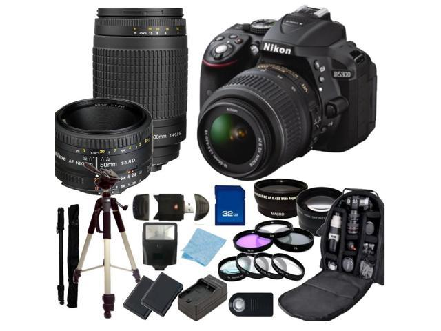 Nikon D5300 Digital SLR Camera With 18-55mm Lens & 70-300mm G Lens & 50mm 1.8D Kit 2