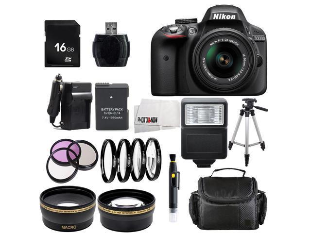 Nikon D3300 1532 Black Digital SLR Camera with 18-55mm VR Lens Advanced 16GB Bundle