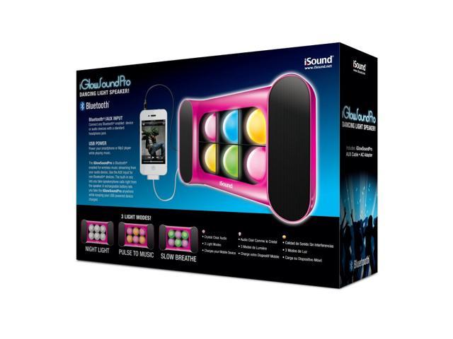 ISOUND iGlowsound Pro Bluetooth Speaker with Dancing Lights & Rechargeable Battery for connecting via Bluetooth or 3.5mm Audio Device - Pink. ...