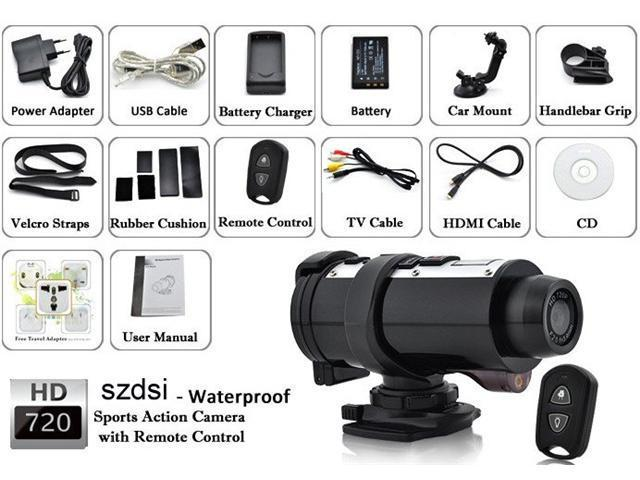 120°Degree View Wide Angle Dual Lens Car DVR/Video Monitoring System/Diving Cam Video Action Sport Helmet Camera - 720P HDMI, 10M Underwater, ...