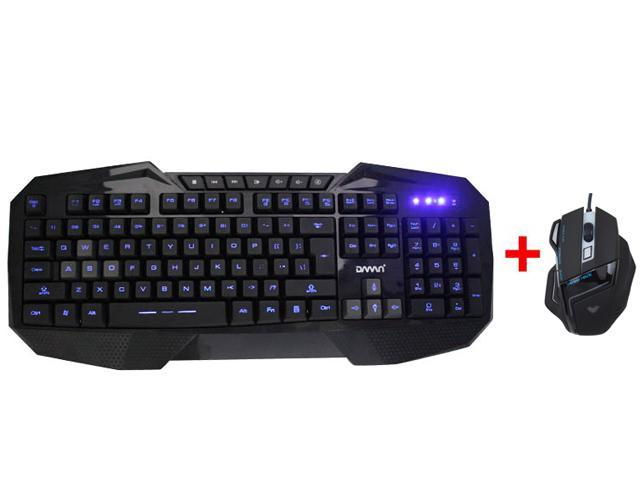 AGPtek LED Illuminated Ergonomic USB Wired Gaming Keyboard with USB Wired Optical Programmable Gaming Mouse for PC Laptop