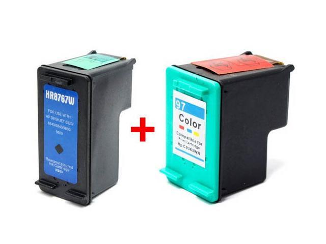 Set of 2 Ink Cartridges for Hewlett Packard (HP) C8767W & C9363WN (HP 96 & HP 97) : 1 Black, 1 Color Cartridge After-Market Product ...