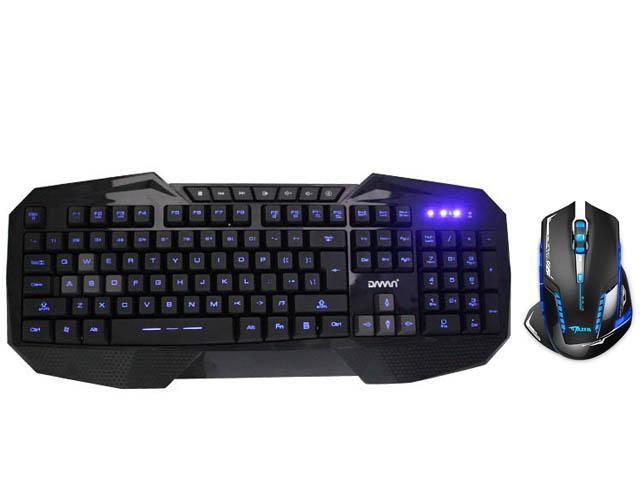 LED Illuminated Ergonomic USB Wired Multimedia Blue Backlight Backlit Gaming Keyboard w/ 2500DPI USB 2.4GHz Wireless Optical Gaming Mouse LED for PC Laptop