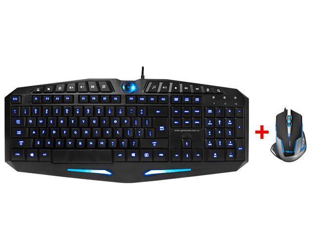 LED Illuminated Ergonomic USB Wired Multimedia Blue/ Red Backlit Switchable Brightness Adjustable Gaming Keyboard w/ 2500 DPI Blue LED Optical ...