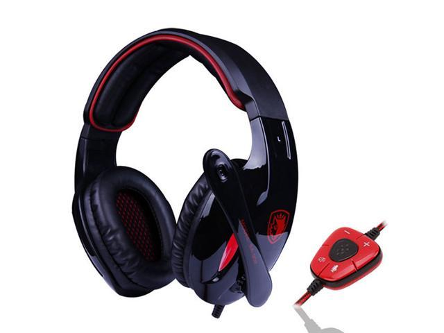 7.1 Surround Professional USB 2.0 Gaming Headset Headphones w/ Microphone + Volume Control - Black + Red (3M-Cable) for PC Laptop Mac
