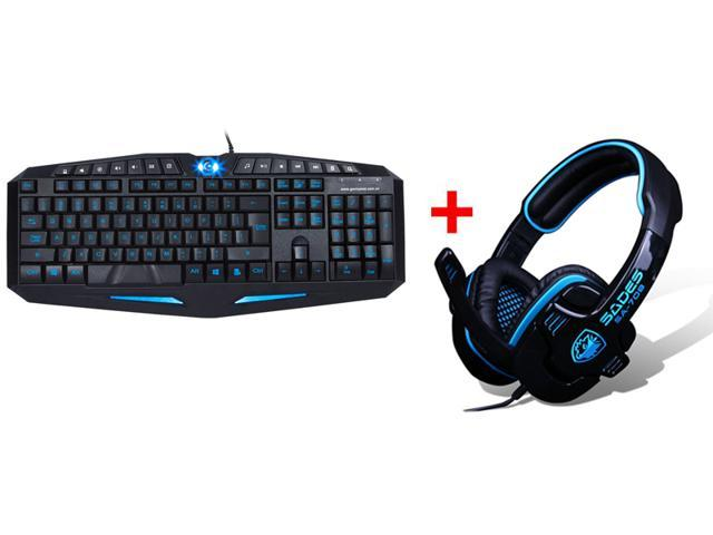 USB LED Illuminated Ergonomic Blue & Red Backlight Pro Gaming Keyboard + Sades SA-708 PC Gaming Headset w/ Microphone, Volume Control, 180cm ...