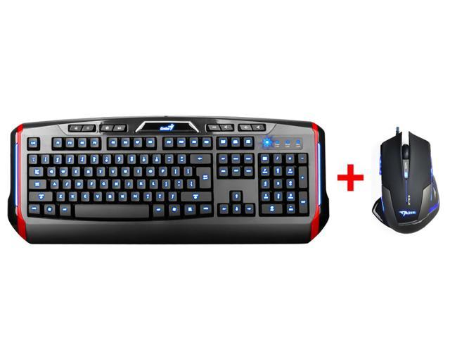AGPtek LED Illuminated Ergonomic USB Multimedia Blue/Red/Purple Backlit Gaming Keyboard w/ 25000 DPI Blue LED Optical USB Pro Gaming Mouse
