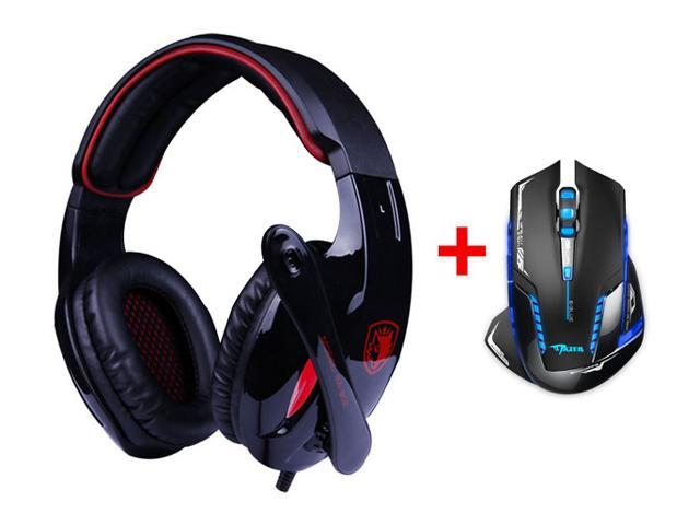 7.1 Surround Professional USB 2.0 Gaming Headset Headphones w/ Microphone Mic + 2500DPI USB 2.4GHz Wireless Optical Gaming Mouse LED for PC Laptop