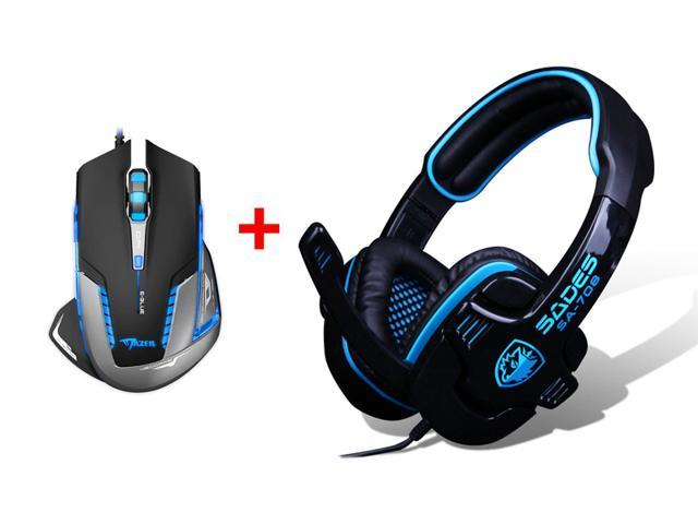 PC Gaming Headset w/ Microphone Mic + 2500 DPI Blue LED Optical USB Wired Gaming Mouse Mice for PC Laptop