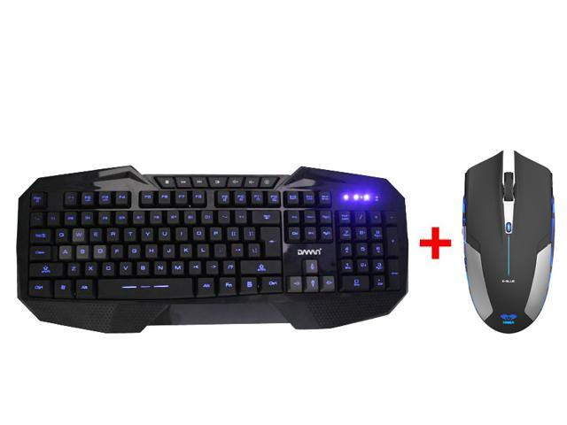 LED Illuminated Ergonomic USB Wired Multimedia Blue Backlit Gaming Keyboard w/ 2.4GHz Blue LED 1800 DPI Wireless Optical Game Mouse Mice for ...