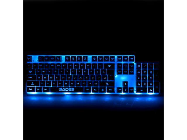 SADES Red Blue Purple 3 Colors LED Backlight USB Gaming Keyboard, 104 Keys (White)